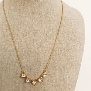 LOFT Simple White Crystal + Gold Triangle Necklace